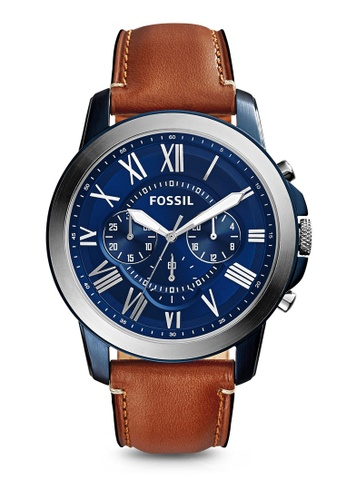 Fossil blue and brown Light Brown/Blue-Fossil Grant FS5151 FO164AC53LZAMY_1