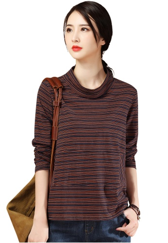 A-IN GIRLS multi Loose Striped High Neck T-Shirt EE4D9AA8788ED8GS_1