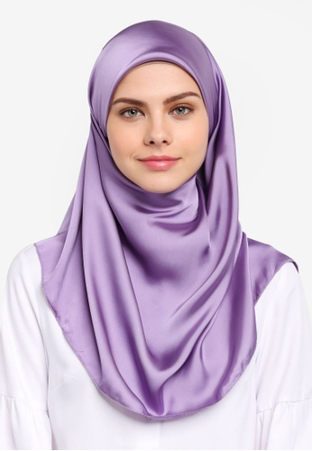 Najjah purple Satin Silk Square Hijab NA225AA0SR6AMY_1