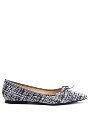Twenty Eight Shoes 藍色 小香風尖頭花呢布面平底鞋2020-5 75A3FSH597E3A6GS_1