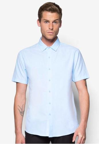 ZALORA blue Basic Short Sleeve Oxford Shirt ZA919AA55WUESG_1