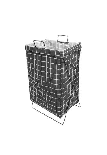 HOUZE black HOUZE - Black Checkered Laundry Bag with Matt Gold Steel Frame 9E8CEHLC68A700GS_1