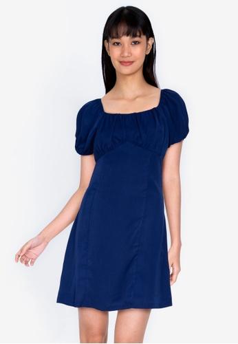 ZALORA BASICS navy Puff Sleeve Mini Dress 17462AA58103E0GS_1