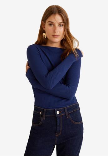 Mango blue Ribbed T-Shirt 4E352AAD664F0DGS_1