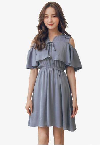 Yoco blue Open Shoulder Ruffle Trim Dress With Pockets EAA71AA4B42652GS_1
