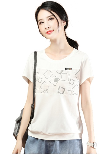 A-IN GIRLS white Simple Round Neck Print T-Shirt D4DFCAA4897233GS_1