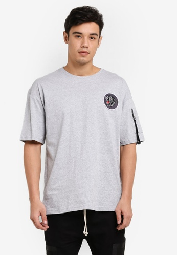 Flesh IMP grey Panther Patch Oversized Box Cut T-Shirt FL064AA81WZAMY_1