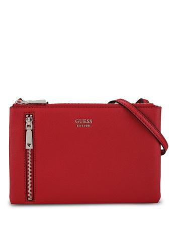 Guess red Naya Double Zip Crossbody Bag CE5E9AC15420E7GS_1