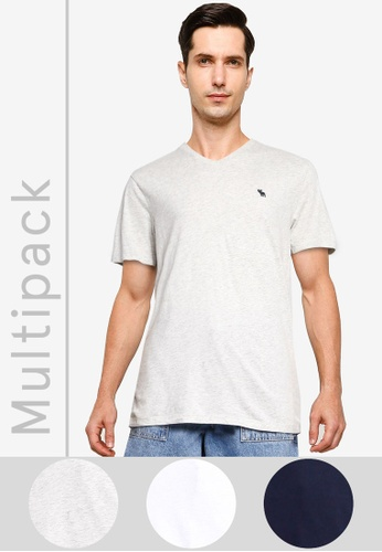 Abercrombie & Fitch multi Multipack Neutral Vee T-Shirt 7A39AAA6FC88F2GS_1