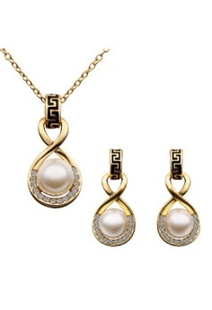Treasure by B&D S322 Numeral Shape Artificial Pearl Inlay Necklace & Earrings Party Jewellery Set
