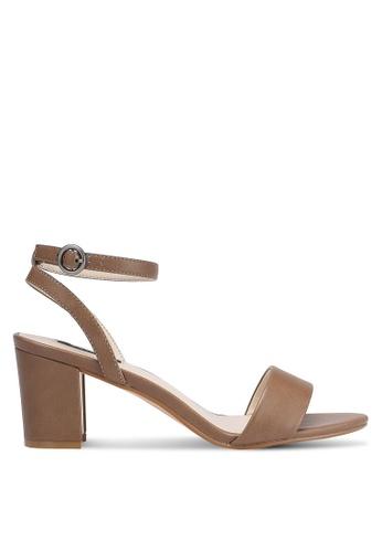 ZALORA brown Gold Detail Heels 3FC26SH6349061GS_1