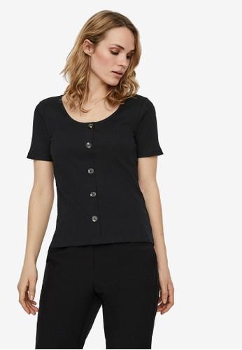 Vero Moda black Ribbed Short Sleeved Top 35143AAF3BAB2DGS_1