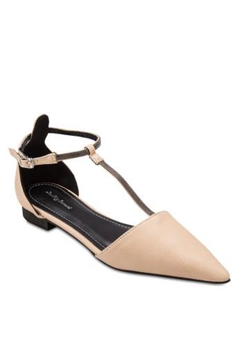 尖頭T字帶平底鞋、 女鞋、 鞋SomethingBorrowed尖頭T字帶平底鞋最新折價