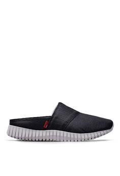 變形金剛 金屬網布 3D彈簧懶人拖鞋-09640-黑色