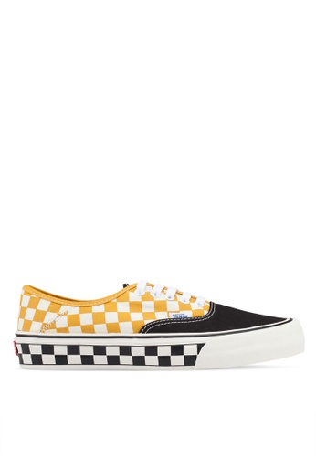 VANS black and white and yellow Authentic Surf Check Sneakers 003C1SH9F003CBGS_1