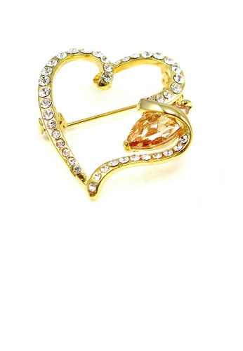 Glamorousky yellow Elegant Heart Brooch with Yellow Austrian Element Crystal CA84BACE94AB18GS_1