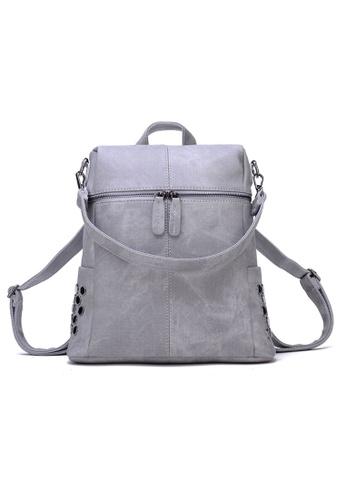 Vince grey European Designed Luxury Women Backpack ( Grey ) VI456AC36AXVMY_1