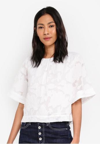 ESPRIT white Woven Short Sleeve Blouse E9319AA3710E72GS_1
