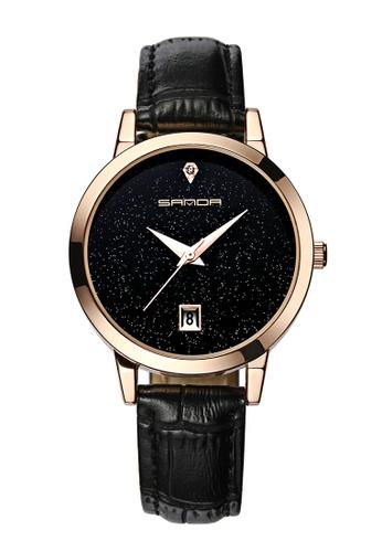 08722f6cd SANDA black SANDA P194 Dazzling Genuine Leather Black Band Star Dial Date  Display Quartz Watch for