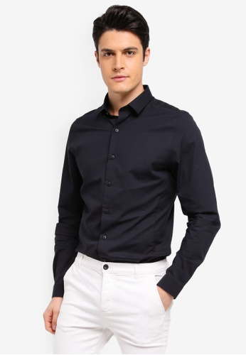 Topman black Black Ultra Muscle Fit Stretch Shirt 47C3CAACCF7253GS_1