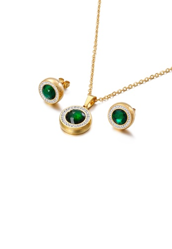 Glamorousky white Fashion and Simple Plated Gold Geometric Round 316L Stainless Steel Necklace and Stud Earrings Set with Green Cubic Zirconia D277FAC7556D86GS_1