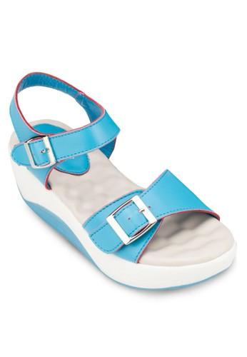 繞踝撞色zalora 手錶 評價厚底涼鞋, 女鞋, 楔形涼鞋