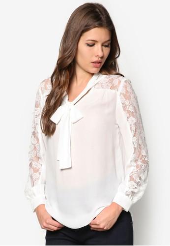 Ivory Lace Pussyzalora 手錶bow Blouse, 服飾, 上衣