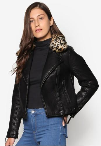 豹紋領仿皮騎士外套, esprit holdings服飾, 皮革外套