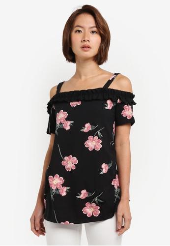 Dorothy Perkins black Maternity Floral Ruffle Bardot Top 70F3BAA9F11E9BGS_1