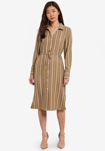 ZALORA brown Midi Shirt Dress CE351AAD2DB8BCGS_1