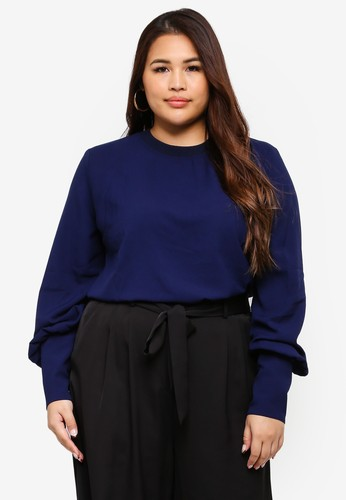 ELVI navy Plus Size Navy Flared Sleeve Top E5FB2AA6AD9518GS_1