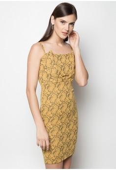 Lace Print Bodycon Dress