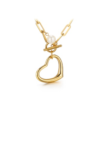 Glamorousky white Simple and Fashion Plated Gold Heart-shaped 316L Stainless Steel Pendant with Imitation Pearls and Necklace FB7D6AC4C1497FGS_1