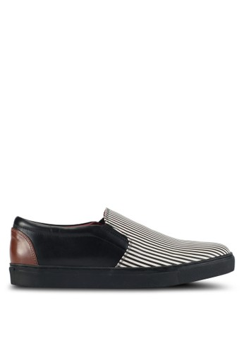 ACUTO black and multi Stripe Slip-On Leather Sneakers AC283SH0SL7WMY_1