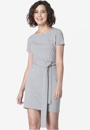 FabAlley grey Grey Front Tie T-Shirt Dress ACC39AAE20E8E9GS_1