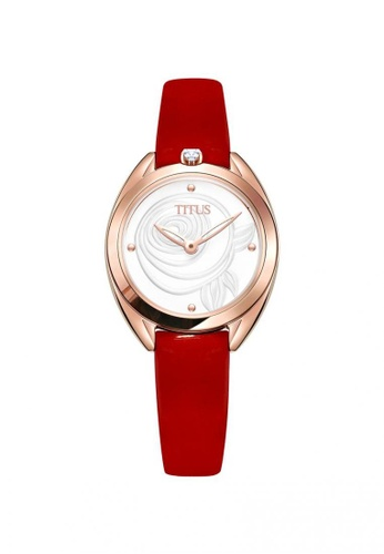 Solvil et Titus red Ring & Knot Women's 2 Hands Quartz Silver White Rose Textured Dial and Red Leather Strap 65F44ACB85378EGS_1