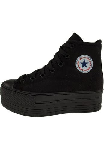 Maxstar 黑色 新款韩国鞋C50-7H-All時尚帆布布混合女黑色 US Women Size MA345SH42GVLTW_1