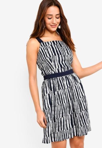ZALORA white and navy Sleeveless Dress 06ECFAA01E0DE0GS_1