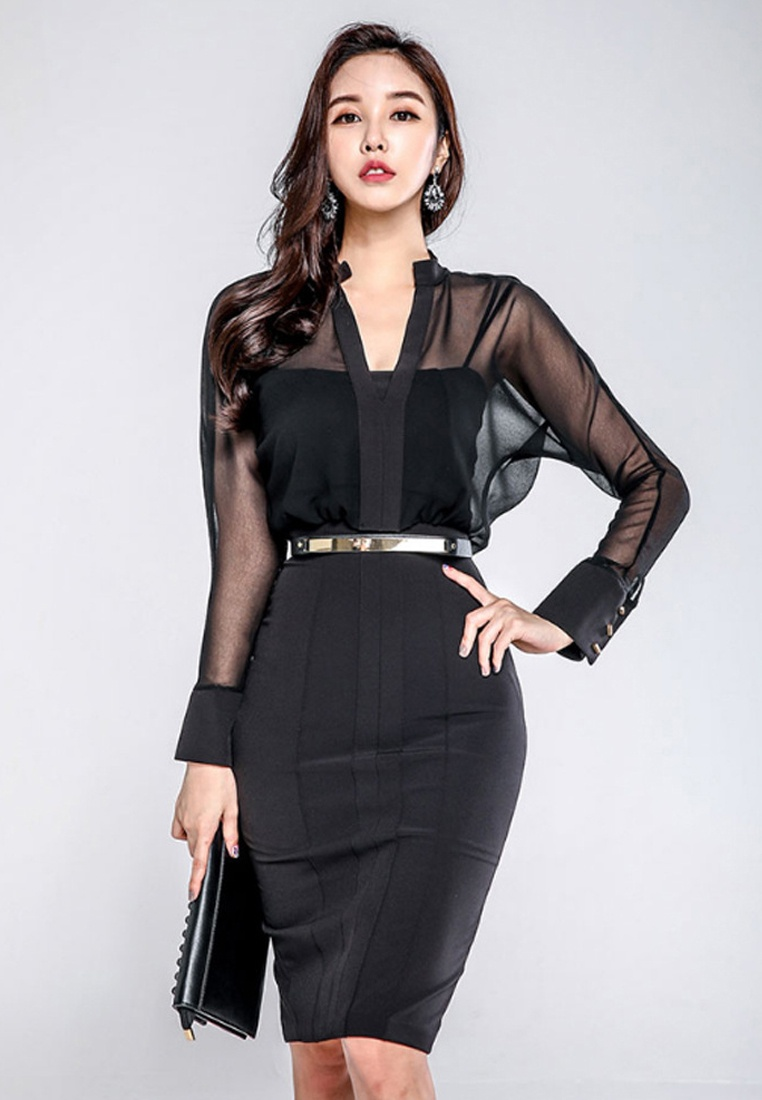 Black New Dress Black CA011708 Through Sunnydaysweety Piece See One 2018 POCqR