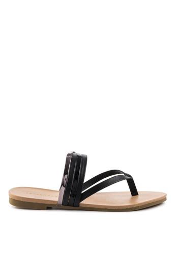London Rag 黑色 London Rag女士黑色条带平底拖鞋 LO507SH0A4K0TW_1
