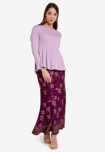 Box Pleat Peplum Kurung from Aqeela Muslimah Wear in Purple