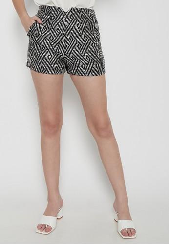 Odiva Woman black MONOCHROME SHORT PANTS - BLACK DEB0BAA44CB0C5GS_1