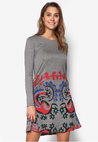 Cintia 印花修身喇叭洋裝, 服飾, 洋zalora時尚購物網的koumi koumi裝