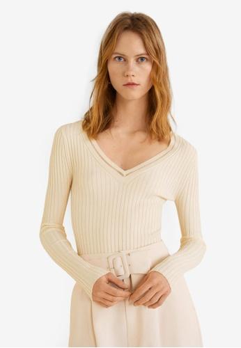 Mango beige Ribbed Metallic Sweater 25271AA22AE141GS_1