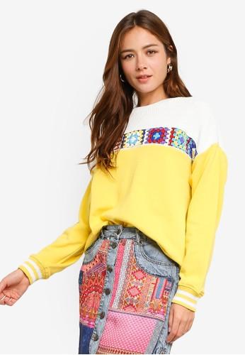 Desigual gold Sweat Crochet Sweatshirt 2EC00AAA15C95EGS_1