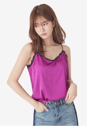 NAIN purple Silky Slip Lace Cami Top E62B1AA3CA92BBGS_1