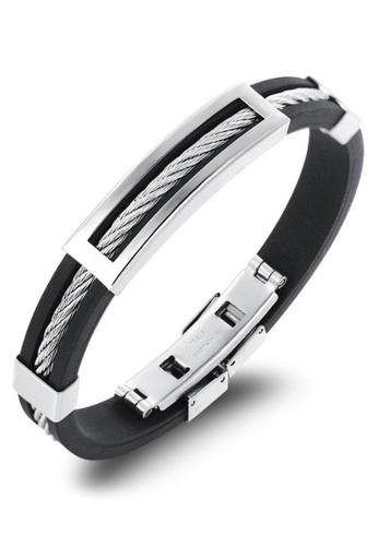 YOUNIQ silver YOUNIQ Silicone with Titanium Steel Line Bracelet for Men (Black) 022F8AC890F35CGS_1
