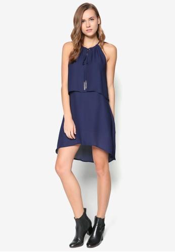 削肩雙層A 字洋裝, 服飾,zalora 台灣門市 短洋裝