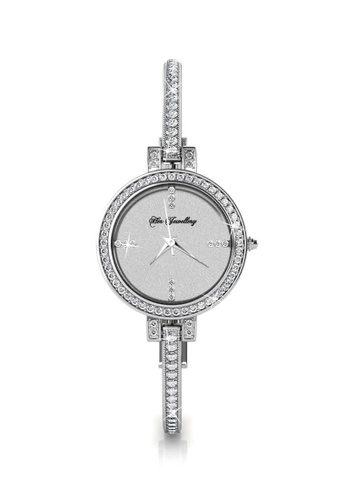 Her Jewellery silver Bangle Watch(White Gold) - Made with premium grade crystals from Austria 124A3AC4B0D233GS_1