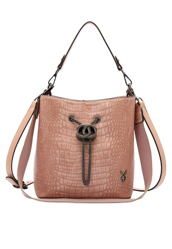 PLAYBOY BUNNY pink Croc Effect Top Handle Slouch Sling Bag C845AACB16F273GS_1